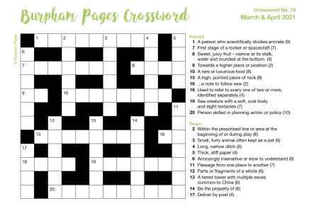 Burpham Pages CrosswordNo.16